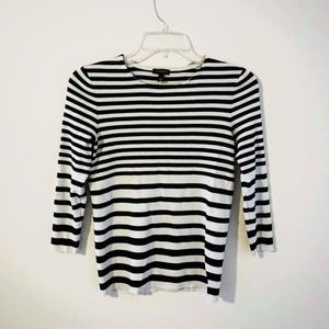 Talbots Classic Black & White Striped Sweater